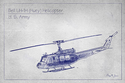 Bell Uh-1h Huey Helicopter  Print by Barry Jones