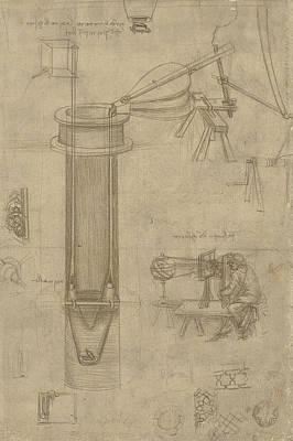 Bellows Perspectograph With Man Examining Inside From Atlantic Codex Print by Leonardo Da Vinci