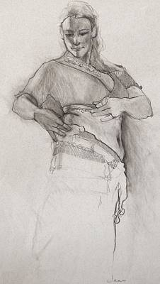 Dancers Drawing - Belly Dancer by Jani Freimann