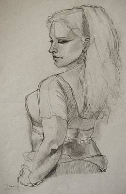 People Drawing - Bellydancer by Jani Freimann