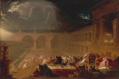 John Martin Painting - Belshazzars Feast by John Martin