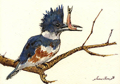 Natur Painting - Belted Kingfisher Bird by Juan  Bosco