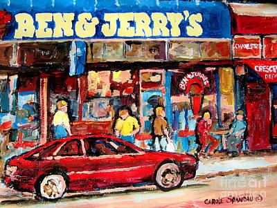 Montreal Streets Painting - Ben And Jerrys Ice Cream Parlor by Carole Spandau