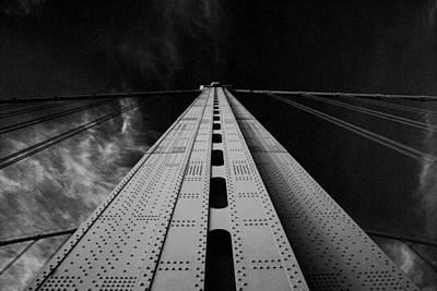 Philly Skyline Photograph - Ben Franklin Bridge B/w by Jennifer Ancker