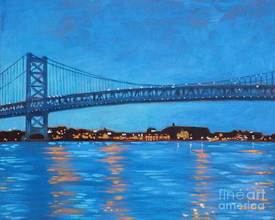 Philly Painting - Ben Franklin Night by Elisabeth Olver