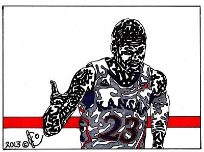 Ncaa Basketball Drawing - Ben Mclemore by Jeremiah Colley