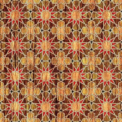 Ben Yusuf Madrasa Geometric Pattern Wood Print by Hakon Soreide