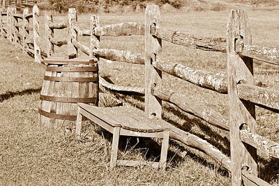 Mixed Media - Bench And Barrel by Trish Tritz