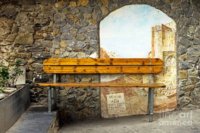Bench In Riomaggiore Print by Prints of Italy