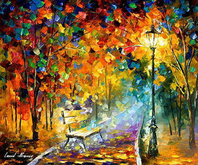 Bench Of Lost Love - Palette Knife Oil Painting On Canvas By Leonid Afremov Original by Leonid Afremov