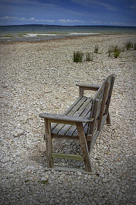 Bench On The Shore At Mackinaw City Print by Randall Nyhof