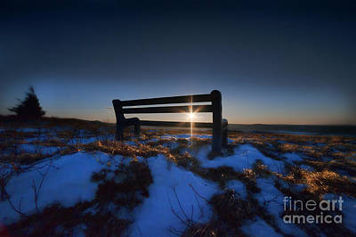 Bench On Top Of Mountain At Sunset Print by Dan Friend