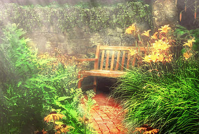 Gardening Photograph - Bench - Privacy  by Mike Savad