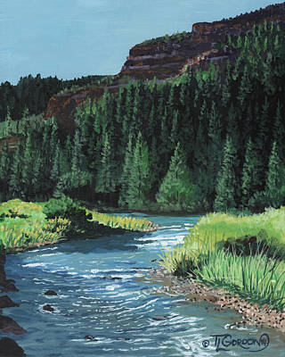 Glade Creek Painting - Bend In The River by Timithy L Gordon