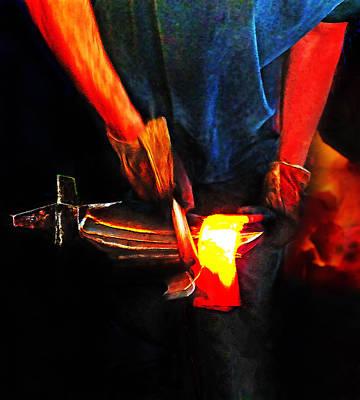 Fire Works Digital Art - Bending Hot Steel by Terril Heilman