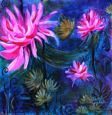 Southern Indiana Painting - Beneath Dark Lotus Waters by Jaime Haney