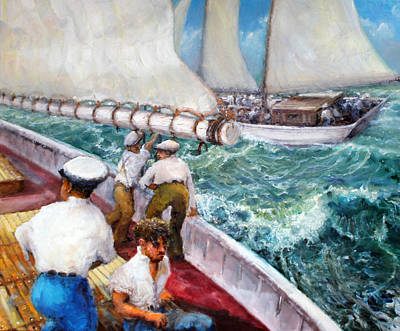 Seafarer Painting - Beneath The Boom by Graham Keith