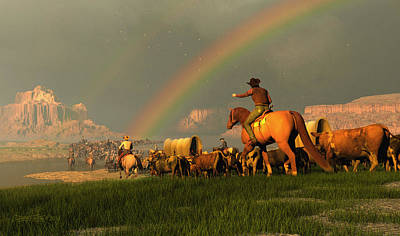 Cattle Drive Digital Art - Beneath The Painted Sky by Dieter Carlton