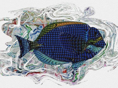 Colorful Tropical Fish Digital Art - Beneath The Waves 2 by Jack Zulli