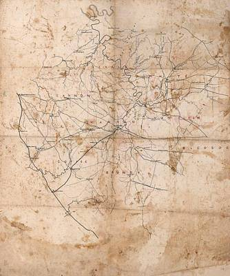 Tn Drawing - Benjamin F Cheatham Civil War Map Of Area Southeast Of Murfreesboro Tennessee by Cody Cookston