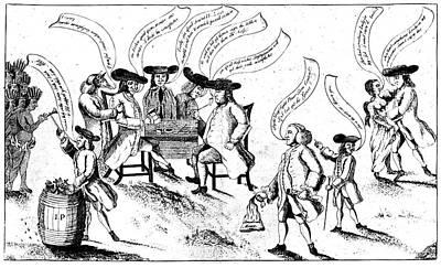 Benjamin Franklin Cartoon Print by Granger