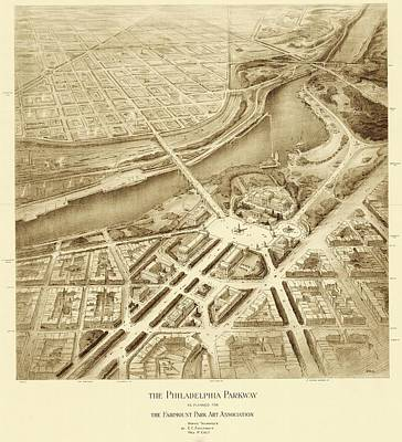 Benjamin Franklin Parkway Plans Print by American Philosophical Society