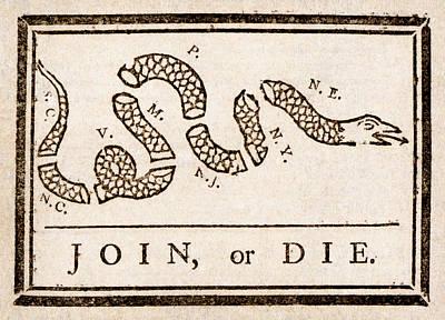 Benjamin Franklin Drawing - Benjamin Franklin's Join Or Die Cartoon by Benjamin Franklin