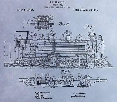 Old Caboose Digital Art - Bennett Locomotive Patent by Dan Sproul