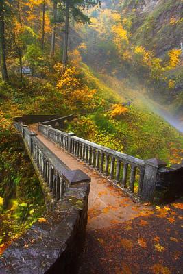 Benson Bridge Fall Colors Print by Darren  White