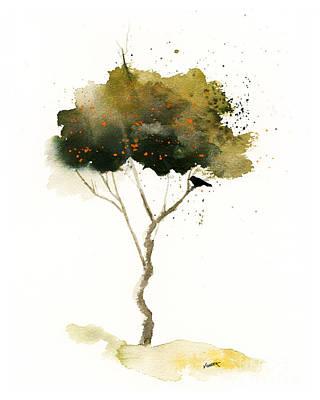 Splashy Art Painting - Bent Tree With Blackbird by Vickie Sue Cheek