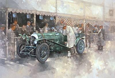 Motor Racing Painting - Bentley Old Number 7 by Peter Miller