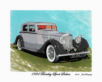 Bentley Sport Sedan 1934 Print by Jack Pumphrey