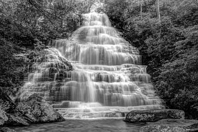 White River Scene Photograph - Benton Falls In Black And White by Debra and Dave Vanderlaan