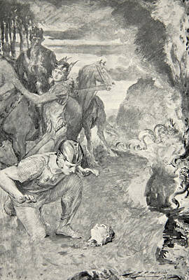 Beowulf Finds The Head Of Aschere Print by John Henry Frederick Bacon