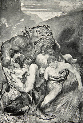 Fabled Drawing - Beowulf Print by John Henry Frederick Bacon