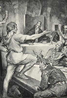Epic Drawing - Beowulf Replies Haughtily To Hunferth by John Henry Frederick Bacon