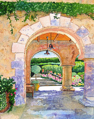 Napa Valley Painting - Beringer Winery Archway by Gail Chandler