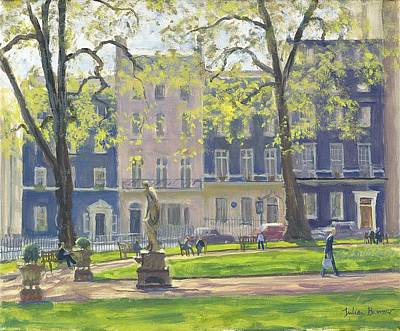 Berkeley Square, South West Corner Oil On Canvas Print by Julian Barrow