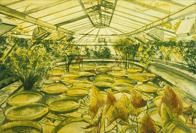Berlin Germany Painting - Berlin Botanical Garden by Leisa Shannon Corbett