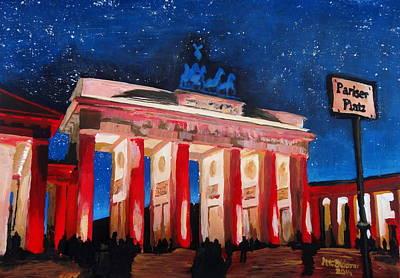 Berlin Brandenburg Gate With Paris Place At Night Print by M Bleichner