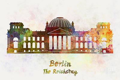 Berlin Germany Painting - Berlin Landmark The Reichstag In Watercolor by Pablo Romero