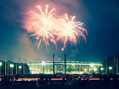 Berlin Photograph - Berlin Olympic Stadium And Fireworks by Alexander Voss
