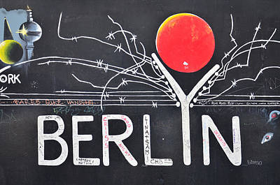 Berlin - Painting On The Berlin Wall Print by Gynt