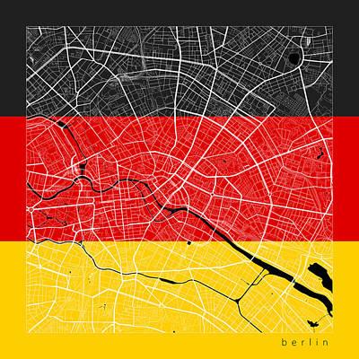 Map Digital Art - Berlin Street Map - Berlin Germany Road Map Art On Flag by Jurq Studio
