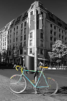 Berlin Street View With Bianchi Bike Print by Ben and Raisa Gertsberg