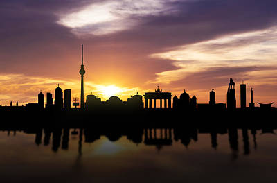Panoramic Mixed Media - Berlin Sunset Skyline  by Aged Pixel