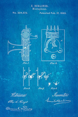 Berliner Microphone Patent Art 1880 Blueprint Print by Ian Monk