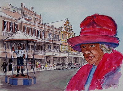 Bermuda Lady In Red And Cop Original by Frank Hunter