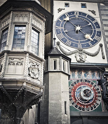 Copy Machine Photograph - Berne Famous Clock by Mesha Zelkovich