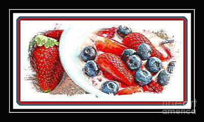 Berries And Yogurt Illustration - Food - Kitchen Print by Barbara Griffin